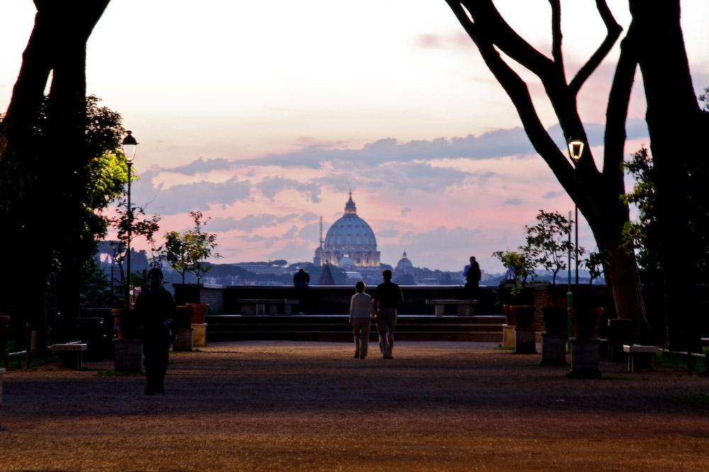 Sunset in the garden of oranges on the Aventine hill in Rome